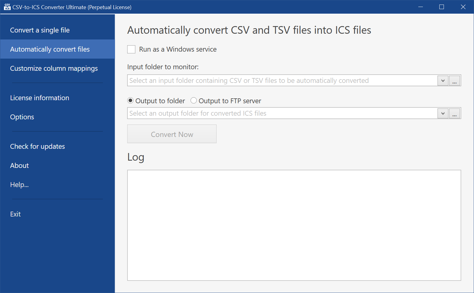 The 'Automatically convert files' tab is where an input folder containing CSV files can be specified. The files will be automatically converted into ICS files and stored in the specified folder or uploaded to your website.
