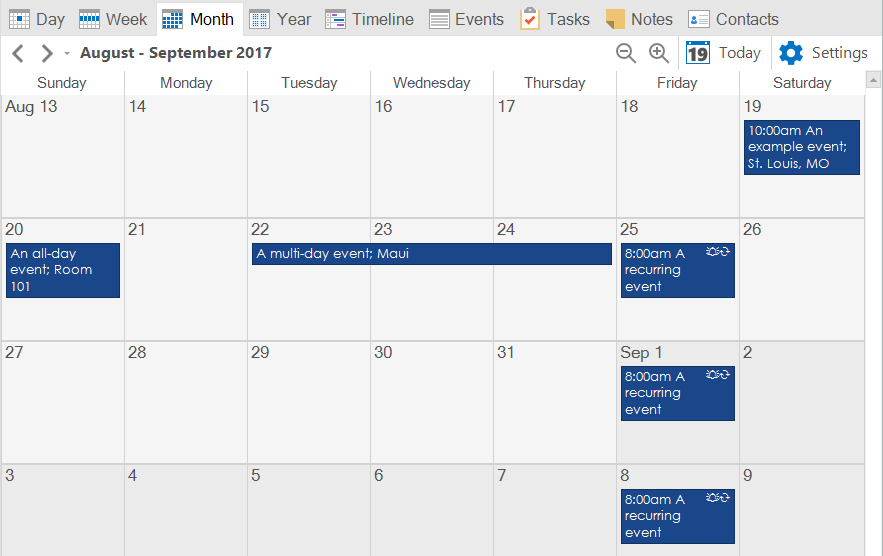 The generated ICS file looks great when imported into VueMinder, the best calendar app for Windows.